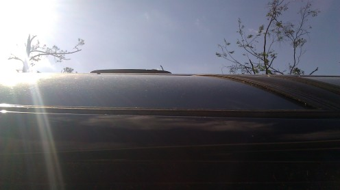 The passenger side of my car, facing the sky. (photo by Tanya Mikulas)